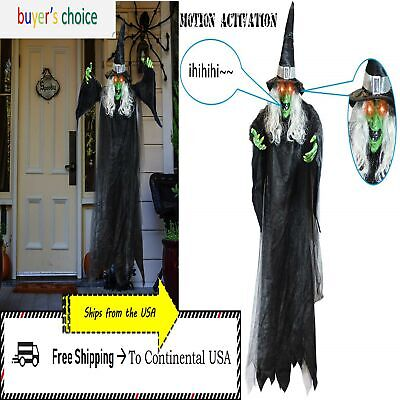 Halloween Haunted House Life Size Hanging Animated 74'' Talking Witch Prop Decor