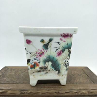Chinese ancient antique hand make Lotus Mandarin Duck  Four square Flowerpot a73