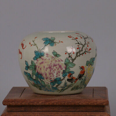 Chinese ancient antique hand make powder color Flower and Bird Map Porcelain s33
