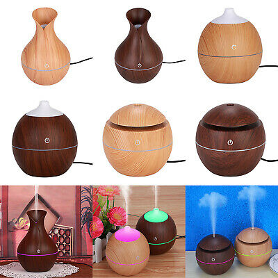7Color LED USB Wood Grain Ultrasonic Air Humidifier Aroma Essential Oil Diffuser