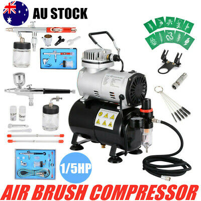 1/5HP Air Brush Compressor 5/7/22cc Airbrush Dual Action Spray Gun Painting Tool