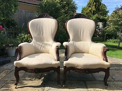 Antique Victorian Lady's Spoon Back Chairs with Cabriole Legs and Brass Castors