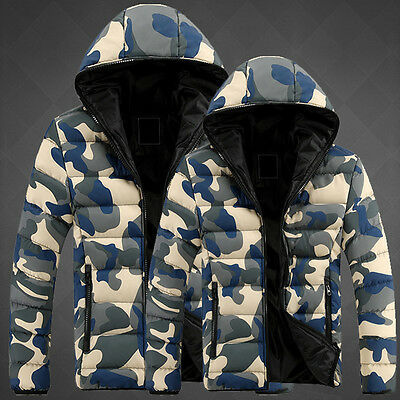 Mens Winter Warm Camouflage Down Coat Thick Hooded Zip Outwear Padded Jackets