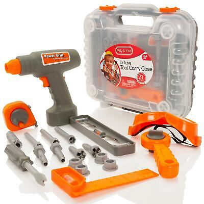 Childrens Electronic Drill 20 Piece Tool Box Set Case Boys Construction Toy