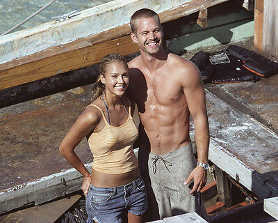 Paul Walker Jessica Alba Barechested Smiling 8X10 Photo