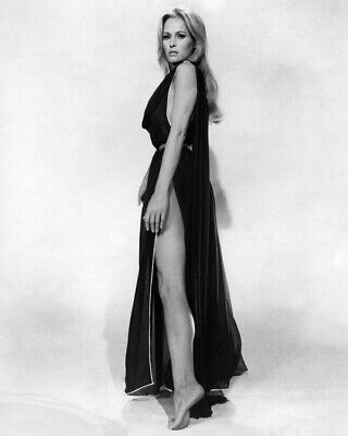 Ursula Andress sexy leggy pin-up in revealing black gown 8x10 Photo