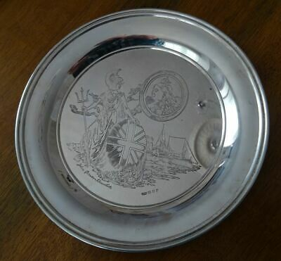 Sterling Silver Commemorative Plate, Queen Victoria Diamond Jubilee Anniversary