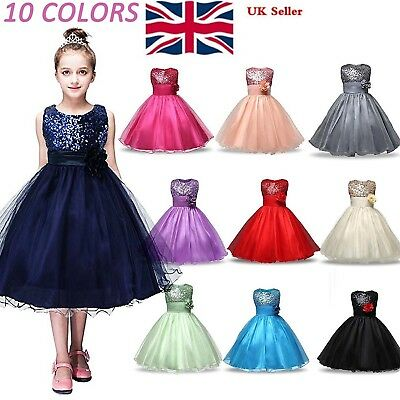 Kid Baby Flower Girls Party Sequins Dress Wedding Bridesmaid Dresses Ages 6M-8Y