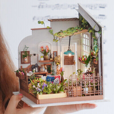 Fairy Garden Doll House for Girls DIY Wooden Miniature Furniture LED Toy Gift