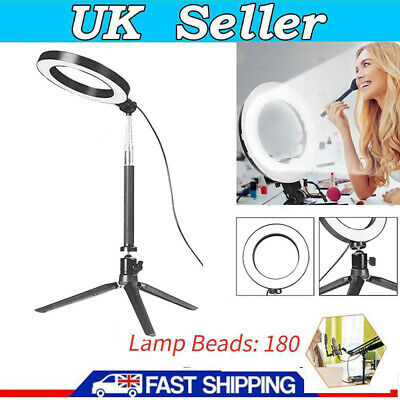 UK Studio LED Ring Light Dimmable Lamp YouTube Video Make-up Selfie Camera Phone