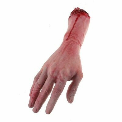 1X Halloween Realistic Hand Terror Bloody Fake Body Parts Severed Arm Hand Prop