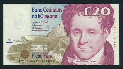 "Ireland: 12-8-1999 LAST £20 RARE SOLID NO.""4444"". Pick 77b AUNC - Cat UNC $167+"
