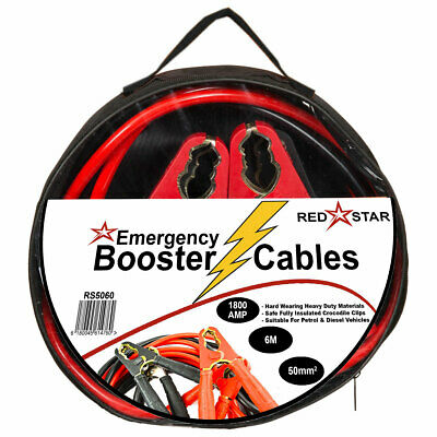 Heavy Duty Booster Jumper Crocodile Cables Leads 50mm2 X 6M 1800AMP Car Van