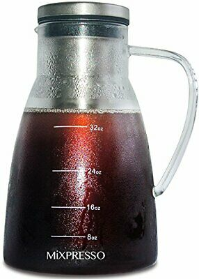 Cold Brew Coffee Maker Airtight Iced Coffee Maker and Tea Infuser Glass Carafe W