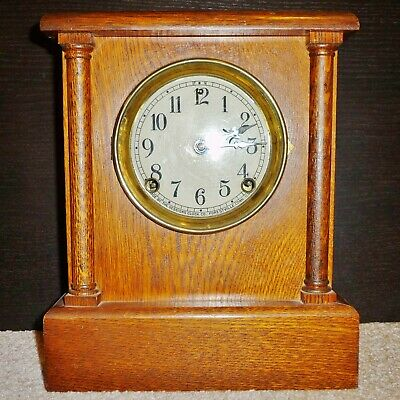 8 Day Sessions Clock Belfast Model Runs & Strikes Properly Antique Part