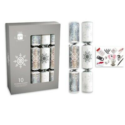"10 Beautifully Decorated 14"" Christmas Crackers Silver And White Snowflakes"