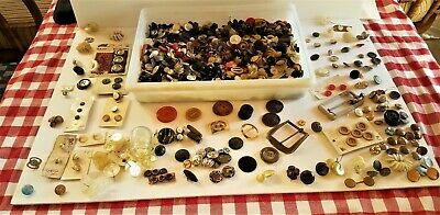 Antique and Vintage Button Collection (New and Used) -- HUNDREDS OF BUTTONS!!