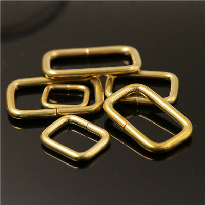 Opening Solid Brass Wire Formed Rectangle Buckle Webbing Loops Strap Adjuster