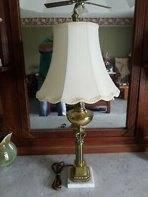Antique solid brass lamp with marble base and shade
