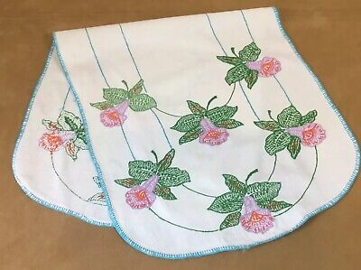 Vintage Table Runner Or Dresser Scarf, Embroidered Flowers & Leaves, Cotton