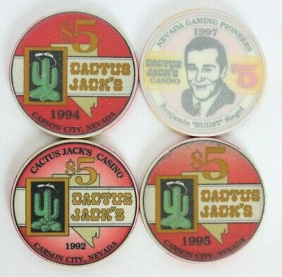 Lot: 1990s CACTUS JACK'S $5 RED Collector CARSON CITY, NEVADA Casino Chips