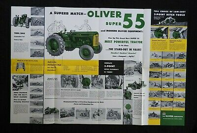 "1954 ""The Oliver 2-3 Plow Super 55 Tractor"" Catalog Fold-Out Poster Brochure"