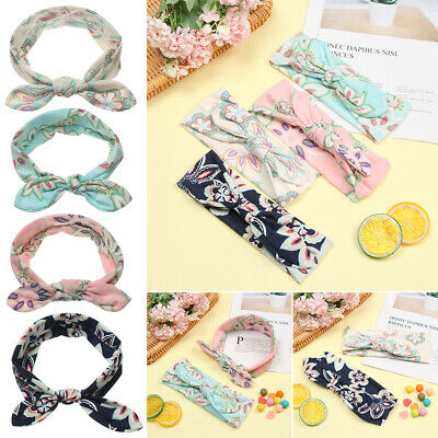 Baby Rabbit Ears Infant Turban Flower Hairband Print Ties Bow Baby Headband
