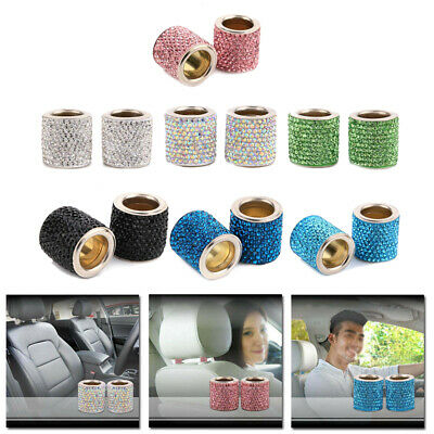 Car Crystal Diamond Seat Headrest Decorative Ring Bling Accessories Assembly Set