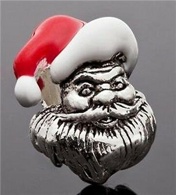 Antique Silver Plate 3D Santa Claus Red & White Enamel Large 5mm Hole Charm Bead