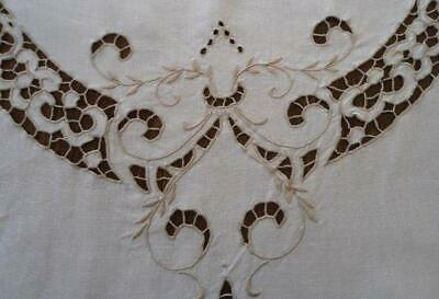 """Vintage Madeira Linen Tablecloth Cutwork Floral Needle Lace Oval 97"""""""