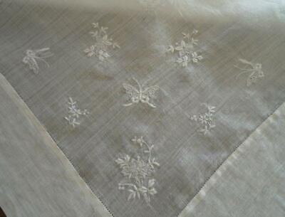"""Vintage Rice Linen Tablecloth Embroidered Butterflies Drawn Thread Floral 38"""""""