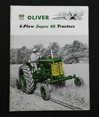 """1955 """"The Oliver 4 Plow Super 88 Gm Tractor"""" Catalog Brochure Very Nice"""