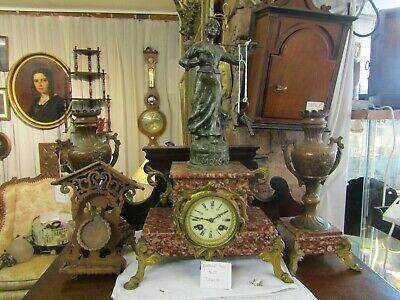 Superb 19Th Century French Marble  & Spelter Clock Garniture In Working Order