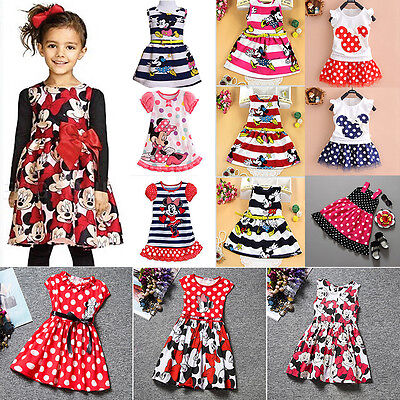 Baby Girl Kids Minnie Mouse Dress Cartoon Vest Skirt Party Fancy Dresses Costume