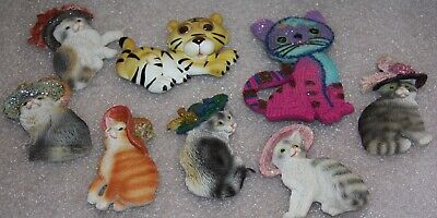 8 cats fridge magnets mixed lot of various cats and one tiger bulk lot of 8