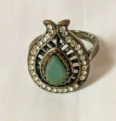 Ancient Ring African Bronze Artifact Old With Stuning Stones Extremely Rare
