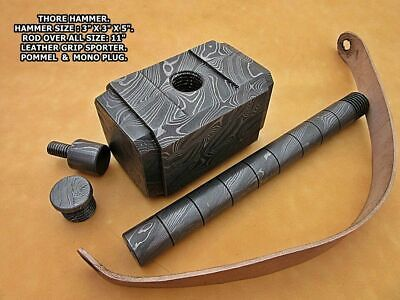 Blacksmith1-Of-A Kind Custom Hand Forged Damascus Steel Thor Hammer With Leather