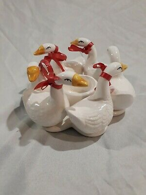 "5x5x2.5"" Goose Themed White Tea Light Candle Holder Collectible Home Decor"