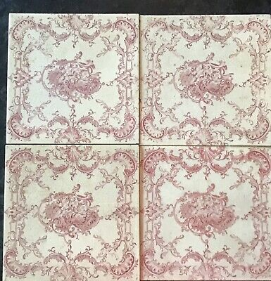 "4 Pink Vintage Original 5/16""  Thick Ceramic Tiles 6"" Square"