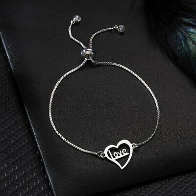 Fashion Stainless Steel Chain Love Heart Bangle Charm Bracelet Women Jewelry New