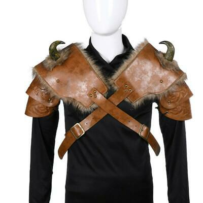Adults Leather Cosplay Medieval Vikings Armor Shoulder Costume Halloween Cloth