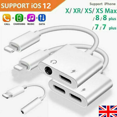 2 in1 Charger and Headphone Jack 3.5mm Dual Lighting Adapter For iPhone 7 8 X UK