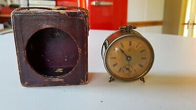 Antique Victorian c1895 Waterbury Pre Timex Co Bed Side Travel Clock Cased Works