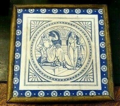 Mintons Tile King Lear John Moyr Smith C1880 China Shakespeare Brass Stand