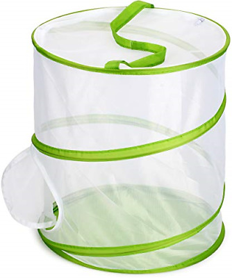 """Insect and Butterfly Habitat Cage Terrarium Pop-up 12"""" x 14"""" Tall White Zipper"""