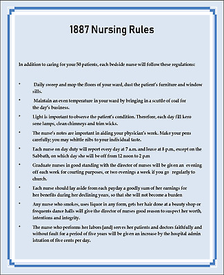 Miniature  Victorian 1887 Rules for Nurses Sign -- Dollhouse 1:12 scale