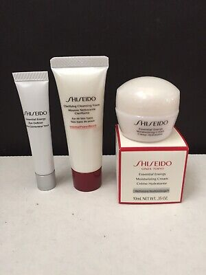 3 Pc Travel Set Shiseido Essential Energy Eye Concentrate Cream Clarifying Foam