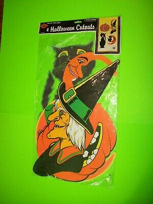 "Beistle Vintage Halloween 22"" Diecut Decorations SEALED 1990 Set of 4 Cutouts"