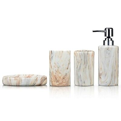Fimary Ceramic Bathroom Accessories Set White - Including 4 Piece White Marbl...