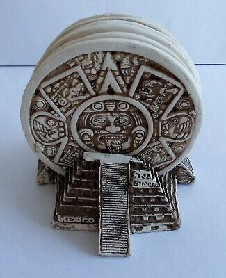 Mexican Stone Mythical Pictures Coasters 6 piece set complete with Pyramid Stand